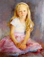 Dream-art oil painting nice young girl portrait hand painted in oil on canvas