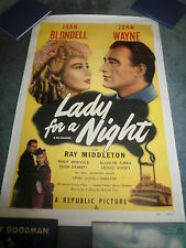 LADY FOR A NIGHT(R-50)JOHN WAYNE JOAN BLONDELL ORIGINAL 1SHEET POSTER ON LINEN