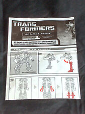 HASBRO TRANSFORMER OPTIMUS PRIME ROBOT LEVEL 5 AUTOBOT INSTRUCTIONS TO VEHICLE