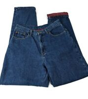 LL Bean Womens 12 M/T Double L Cotton Flannel LINED Relaxed Mom Jeans High Waist