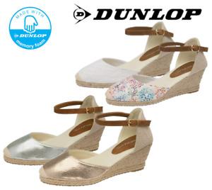 Ladies Memory Foam Summer Spanish Ankle Strap Dunlop Espadrille Wedge Sandal