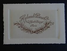 Ancienne carte de visite HYLAND BROS & Co New-York Chicago Paris old visit card
