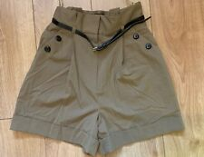River Island Brown High Waisted Paperbag Waist Shorts UK6