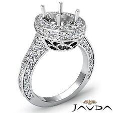 Semi Mount Diamond Engagement 1.6Ct Halo Pave Filigree Ring Oval 18k White Gold