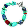 .925 Sterling Silver Red Coral/Howlite/Lapis & Turquoise Bracelet, 8 MSRP $102