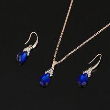 collier chaîne boucles d'oreilles goutte d'eau bleu saphir  Swarovski® Elements