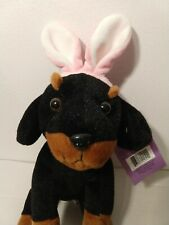 """NWT Animal Adventure Sweet Sprouts Doberman Puppy 7"""" Plush Stuffy Easter 2015"""