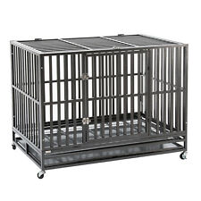 """Silver Puppy Dog Cage Heavy Duty Metal Square Tubes Crate w/ Wheels&Tray XXL 48"""""""