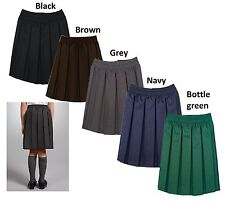 Girls School Uniform Box Pleated Elasticated waist school kids Skirt Age 2-18yrs