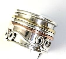 Tricolor Handmade Sterling Silver Copper Brass 3 Band Spin Ring Size 10 &1/4 R42