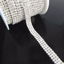 3 Row Diamante Crystal Rhinestone Chain Trims Wedding Cake SS12 3mm Browband Sew