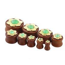 PAIR-Wood w/Golden Jade Flower Double Flare Ear Plugs 10mm/00 Gauge Body Jewelry