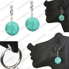clip on VEINED TURQUOISE DISC gemstone EARRINGS hoop drop 4cm silver/blue/green