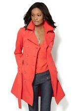NEW YORK & CO Womens Coral Belted Trench Coat Raincoat Jacket Size Small S NEW