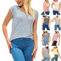Pieces Damen T-Shirt Shirt Kurzarmshirt Stretch Basic Stripes Color Mix SALE %