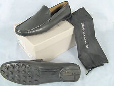 NEW $775 Giorgio Armani Mens Shoes!  e 46 Approx US 13   Black Leather Slipons