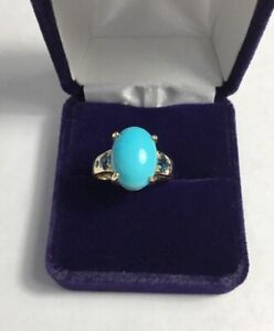 STS 14K YELLOW GOLD TURQUOISE BLUE TOPAZ RING SIZE 7, 5GMS