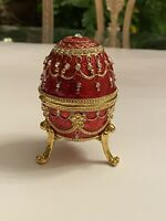 Vintage Sankyo Jeweled Enamel Musical Egg Ring Box