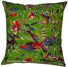 "Vtg 16"" Green Cotton Cushion Pillow Cover Kantha Sofa Throw Indian Home Decor"