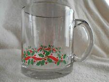 Holly Berry Ivy Ribbons Mug 12 oz Glass Anchor Hocking? Libbey? Red Green !