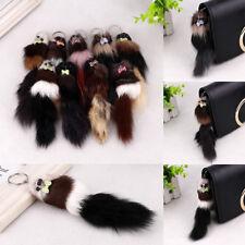 Cute Fluffy Long Soft Fur Tail Plush Key Rings Keychain Handbag Phone Pendant
