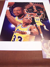 LAKERS KAREEM ABDUL JABBAR DUAL SIGNED AUTO DANNY DAY LITHO  HALLMARK CERTIFIED