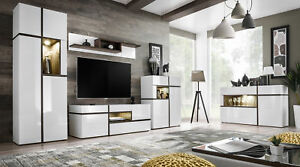Chandler - white living room entertainment center / modern tv wall unit