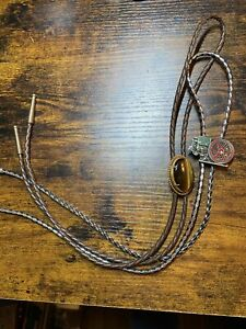 Polished Stone And Tractor Braided  Handmade Leather Bolo  2 Western Neck Ties