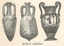 A7952 Anfore antiche - Xilografia - Stampa Antica del 1924 - Engraving