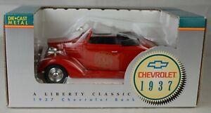"""Liberty Classics #10018 1937 Chevrolet Conv """"Fire Dept"""" Bank Diecast Mint/Box"""