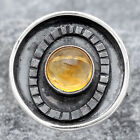 Natural Citrine Cab 925 Sterling Silver Ring s.8 Jewelry E905