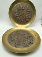 Pair Antique Korean Brass 11 3/4in Plates two tone high relief Asian figural