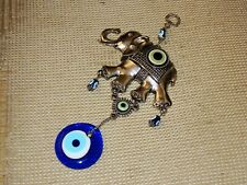 Turkish Evil Eye and Lucky Elephant Amulet. 10 inches long.