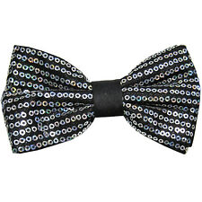 New formal Men's micro fiber pretied bow tie sequins silver wedding prom