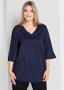 Figure Flattering A line Semi Sheen Viscose Tunic Style Navy Blue Top Size 14