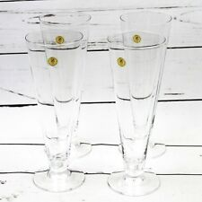 "Vtg Cristallerie Zwiesel Crystal Champagne Flutes Germany Set of 4 Clear 9"" 24%"