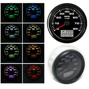 85mm Digital LCD Car Trip COG Tachometer 8000 RPM Anti-fog Glass IP67 Waterproof