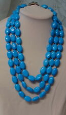 Vintage Abalone Shell Overlay Blue Turquoise 3 Row Strand Necklace 230.7g