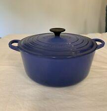 Vintage LE CREUSET Blue Cast Iron Round 5.5 QT DUTCH OVEN POT w/LID #26