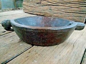 ANTIQUE HAND ANIMAL CARVED  WOODEN  KHARAL Opium Water BOWL POT