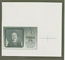More details for tonga 1986 60th birthday queen elizabeth 57s monochrome proof + specimen stamp