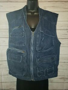 Bass Pro Shops Outdoors  Fishing Fish Hunt Denim Blue Jean Pockets Vest Size XL