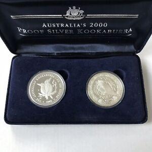 2000 Australian Kookaburra 1oz Silver Proof Two Coin Set
