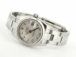 Rolex Datejust 179174 Ladies Stainless Steel Watch FACTORY Silver Diamond Dial