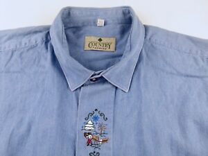 KL422 COUNTRY vintage denim embroided village life shirt size XL, great cond!