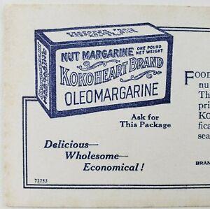 Morris & Company Kokoheart Nut Oleo Margarine North American Chicago Ad Card F65