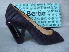 BERTIE UK 5 BLACK SATIN PEEP TOE COURT SHOES BOXED