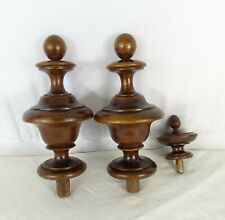 "6.7"" H - French Antique Walnut Wood Pair of Curtain-Rod Bed Finials -"
