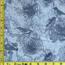 Blue Birds of Feather in Nest Cotton Toile Benartex Fabric 22.5 cm BTQY off bolt