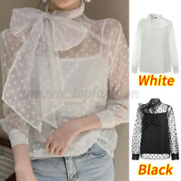 Women Long Sleeve Sheer Lace Party Cocktail Tops Mesh Shirt Tee Blouse Two-Piece